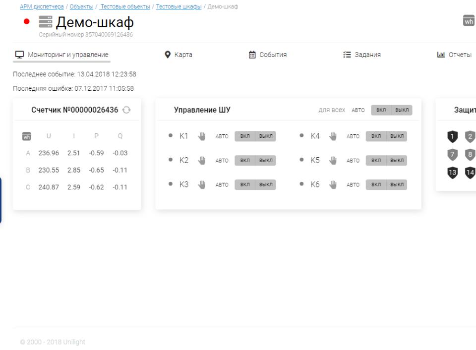 Интерфейс ШУНО (Мониторинг и управление)